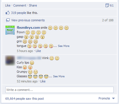 Facebook Emoticons in Comments